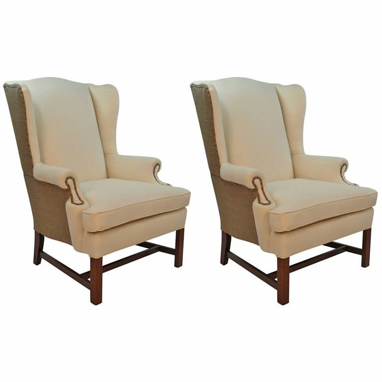 Pair Of Chippendale Style Wingback Chairs For Sale At 1stdibs
