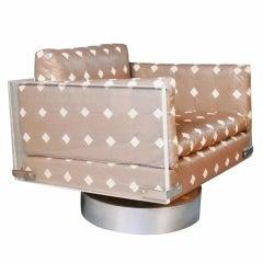 Vladimir Kagan Lucite and Leather Swivel Rocker Lounge Chair