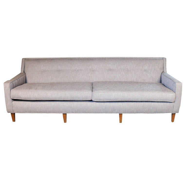 Grey tweed sofa mid century custom sully sofa choose color for Mid century modern furniture orlando