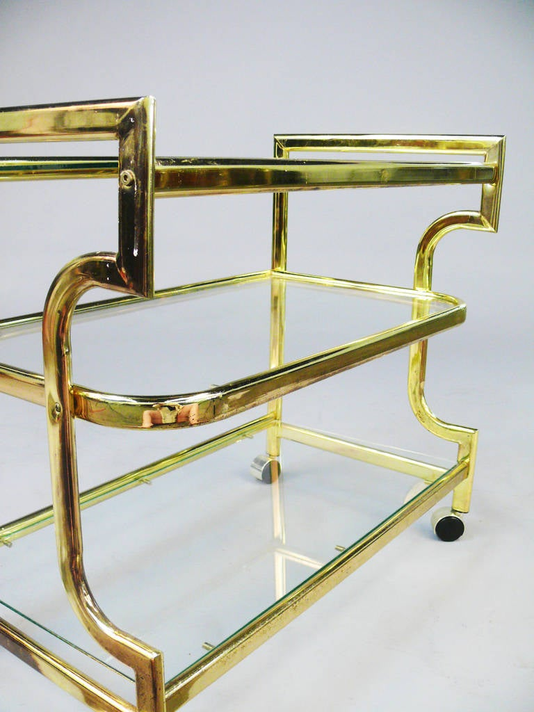 Vintage Midcentury Brass And Glass Bar Cart At 1stdibs