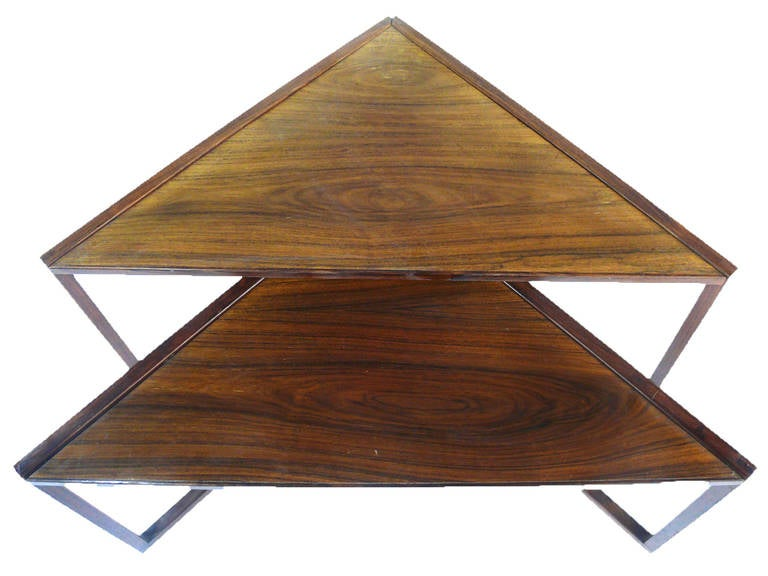 Scandinavian Modern Midcentury Rosewood Triangular Nesting Tables For Sale
