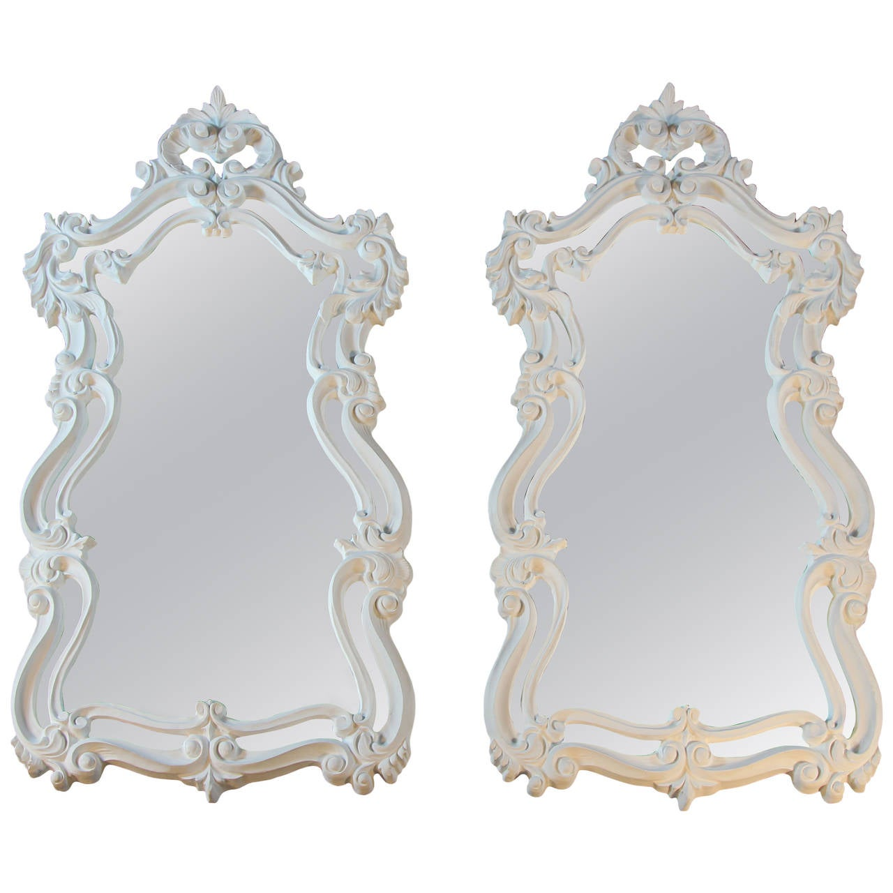 Pair of rococo style mirrors in white at 1stdibs for White baroque style mirror