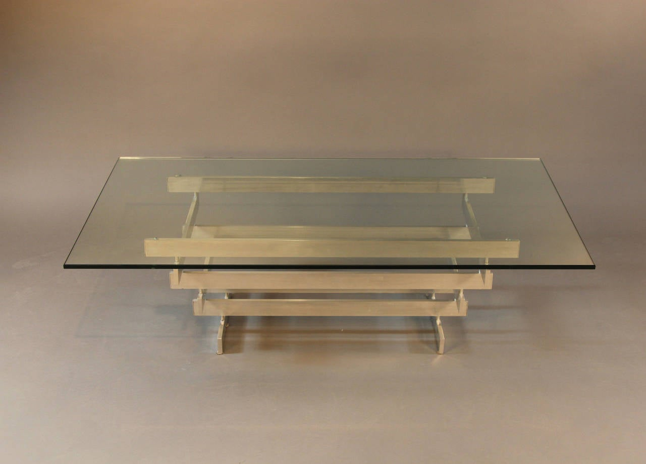 Paul mayen multi tiered aluminum coffee table for habitat for Coffee tables habitat