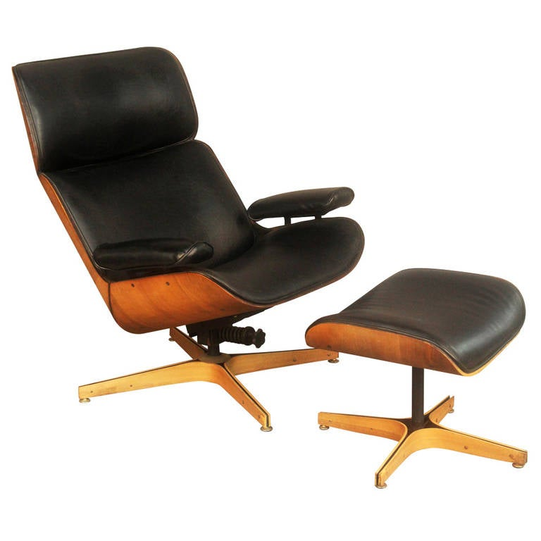 George mulhauser mr chair lounge chair and ottoman by plycraft