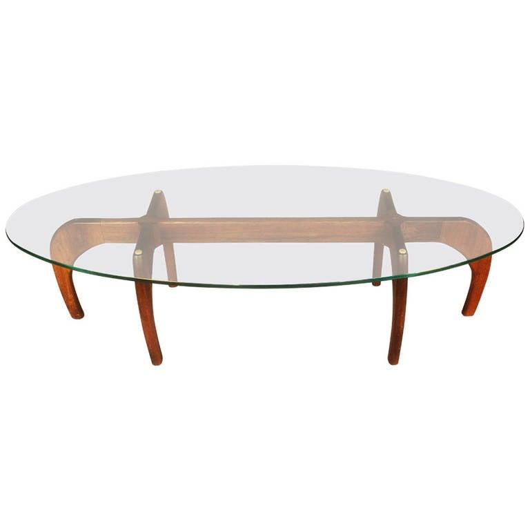 Mid Century Surfboard Coffee Table At 1stdibs: Teak Mid-Century Coffee Table, Surfboard Glass At 1stdibs