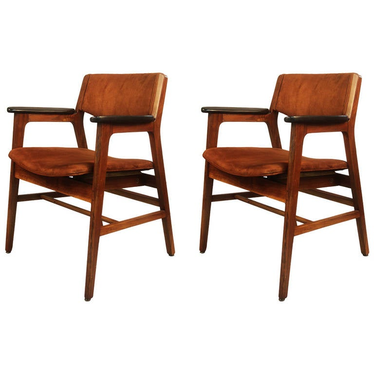 Pair Of Gunlocke Chairs In Walnut With Suede Upholstery 1