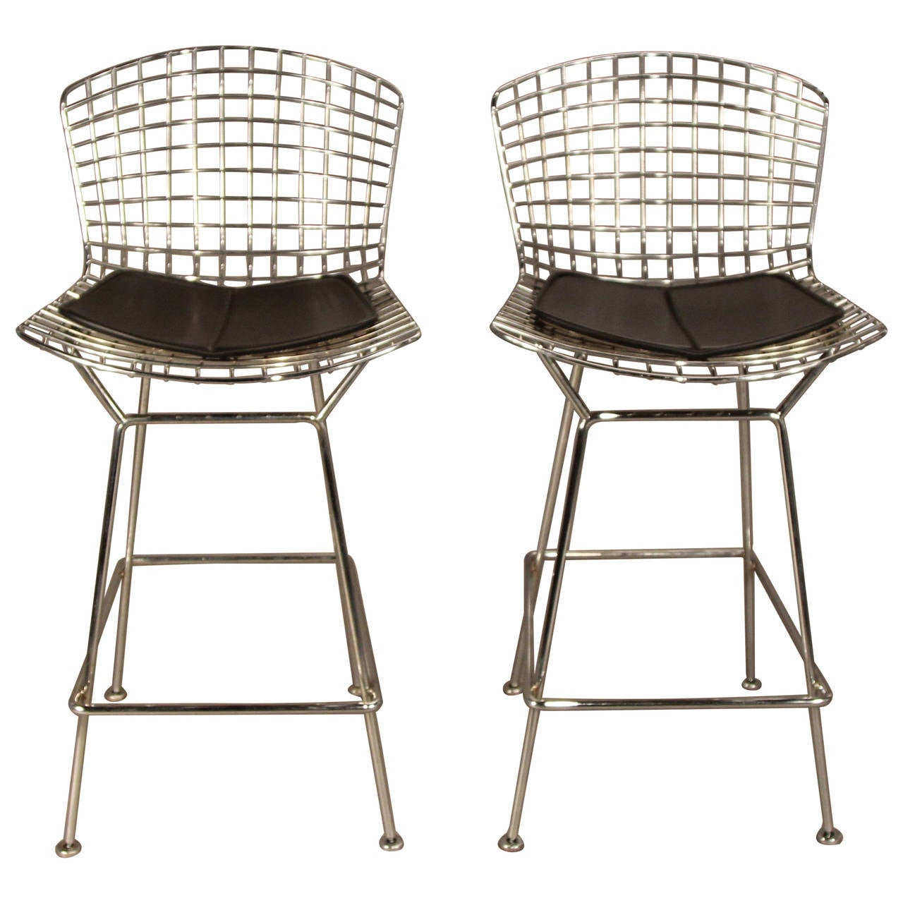 Pair Of Harry Bertoia For Knoll Bar Stools In Chrome With