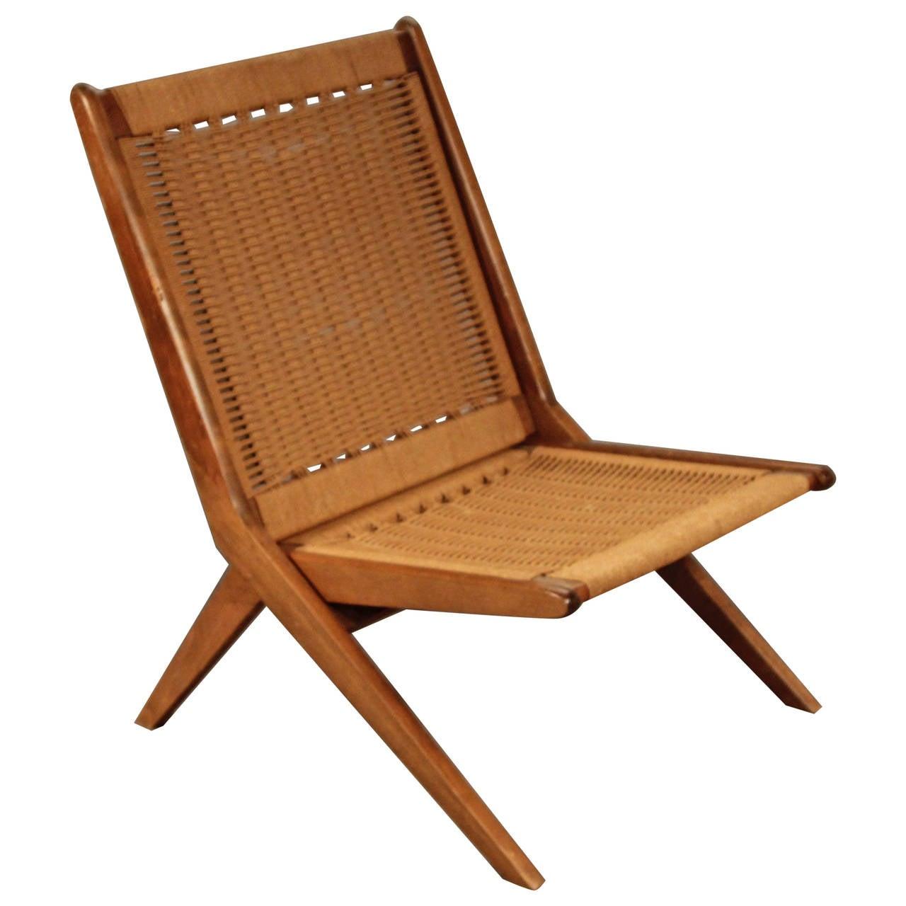 Hans Wegner Style Folding Rope Chair At 1stdibs
