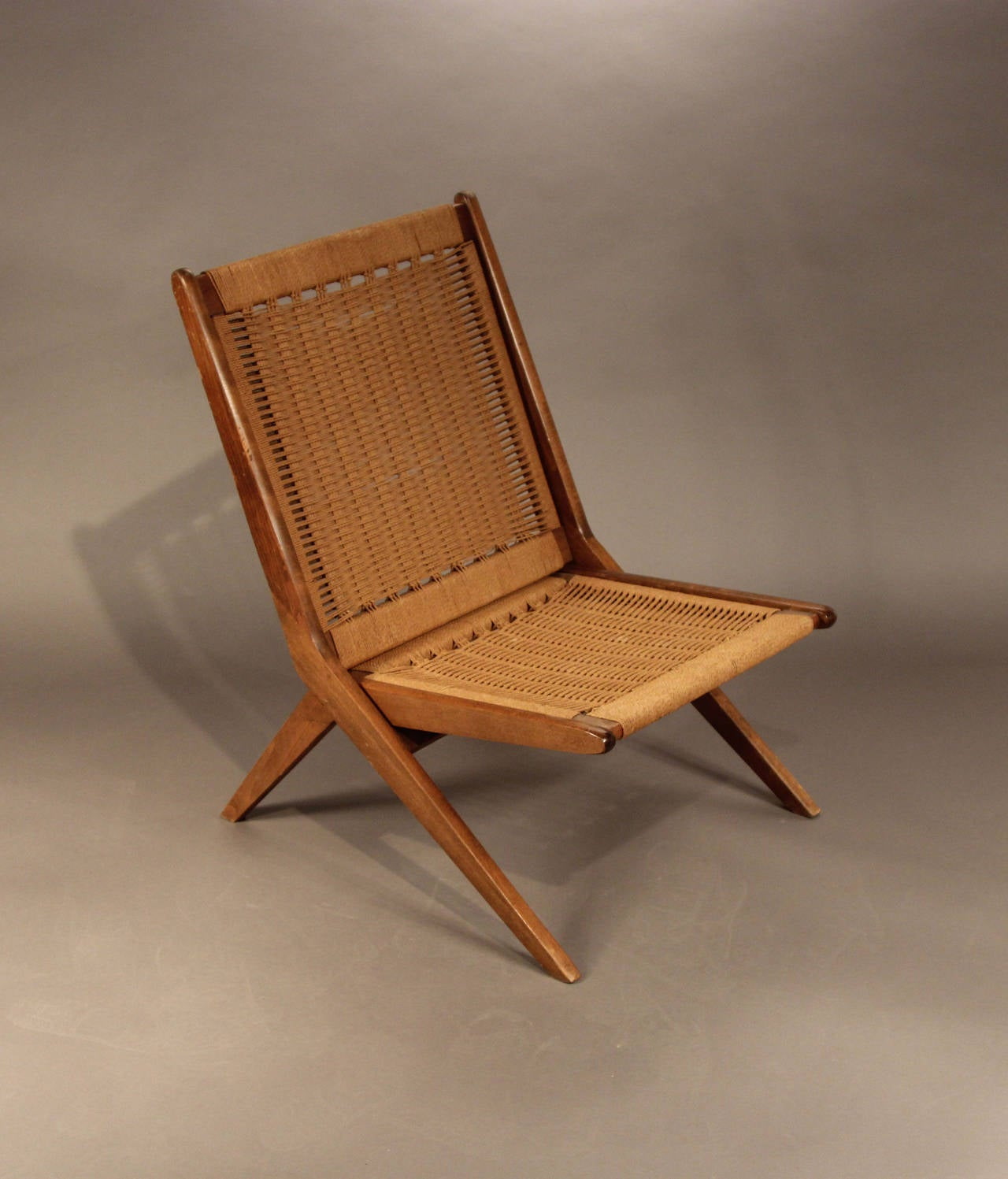 Hans Wegner Style Folding Rope Chair At 1stdibs