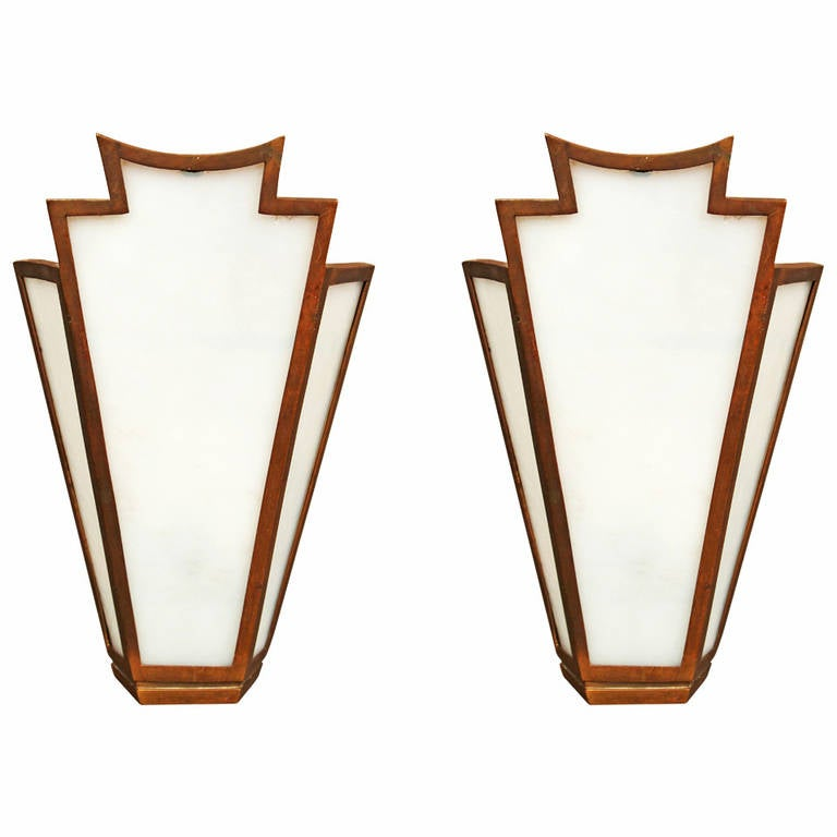 Pair of Large French Art Deco Bronze Slag Glass Wall Sconces at 1stdibs