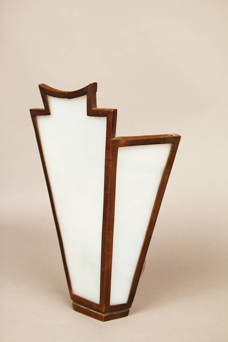 Art Deco Glass Wall Sconces : Pair of Large French Art Deco Bronze Slag Glass Wall Sconces at 1stdibs