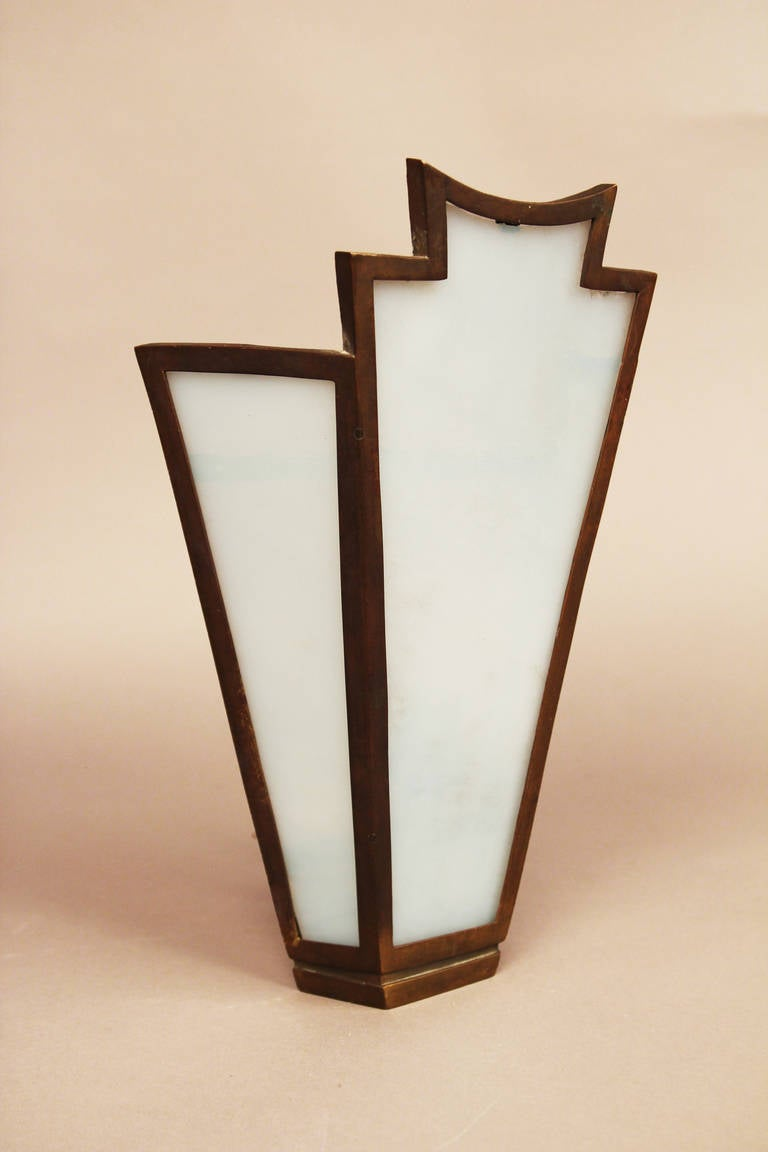 Large Bronze Wall Sconces : Pair of Large French Art Deco Bronze Slag Glass Wall Sconces at 1stdibs