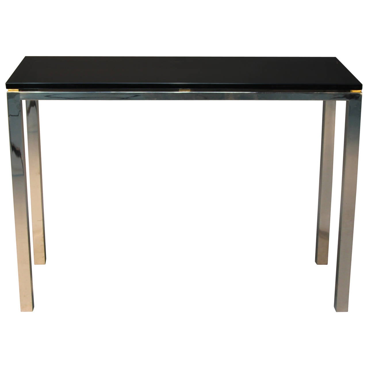Chrome And Smoked Glass Console Table With Brass Accents