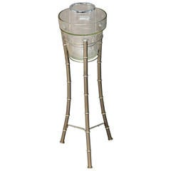 Chrome Faux Bamboo, Lucite and Glass Ice Bucket on Stand