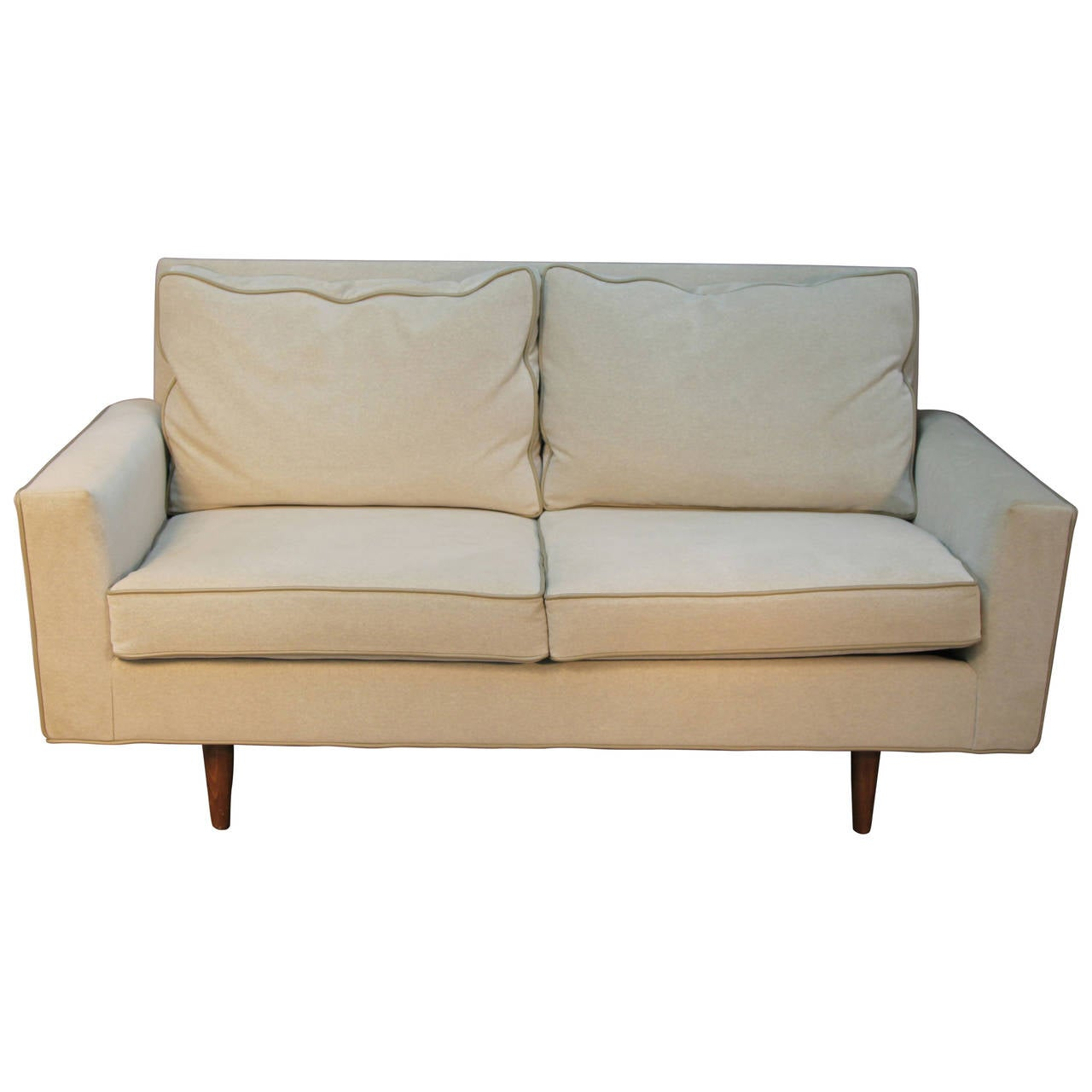 midcentury modern velvet loveseat with leather piping