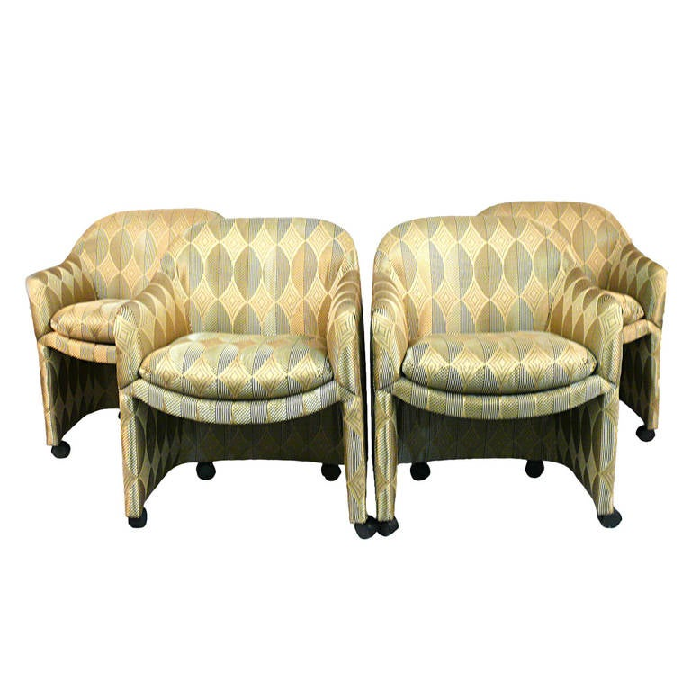 Outstanding Set Of Four Milo Baughman For Thayer Coggin Barrel Chairs On  Casters For Sale