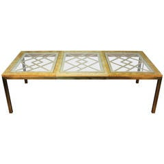 Mastercraft Style Brass and Burled Wooding Dining Table with Leaf