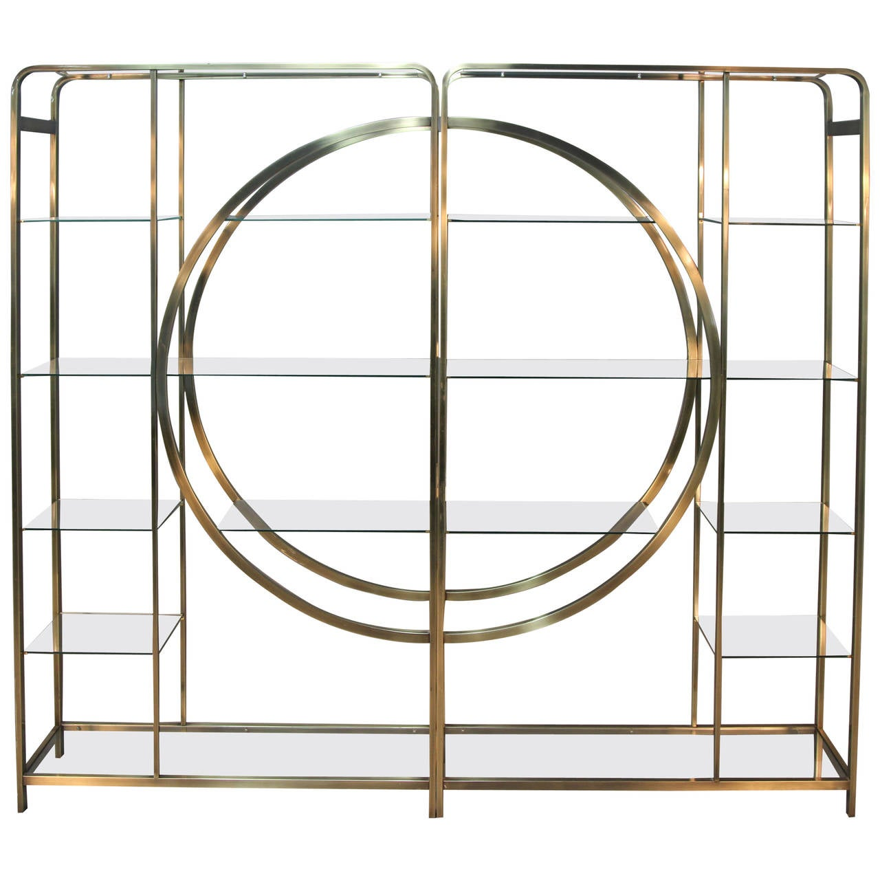 Amazing Milo Baughman Brass Etageres with Geometric Pattern