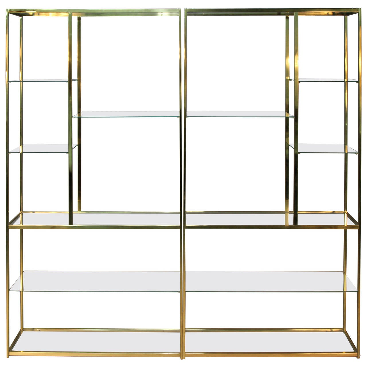 milo baughman brass and glass etageres at 1stdibs. Black Bedroom Furniture Sets. Home Design Ideas