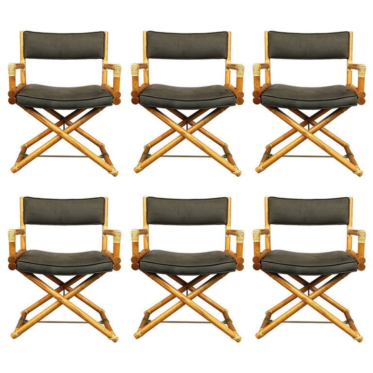 Image of: Safari Style Furniture With Set Of Six Mcguire Directors Chairs Oak Safari Style For Sale At 1stdibs