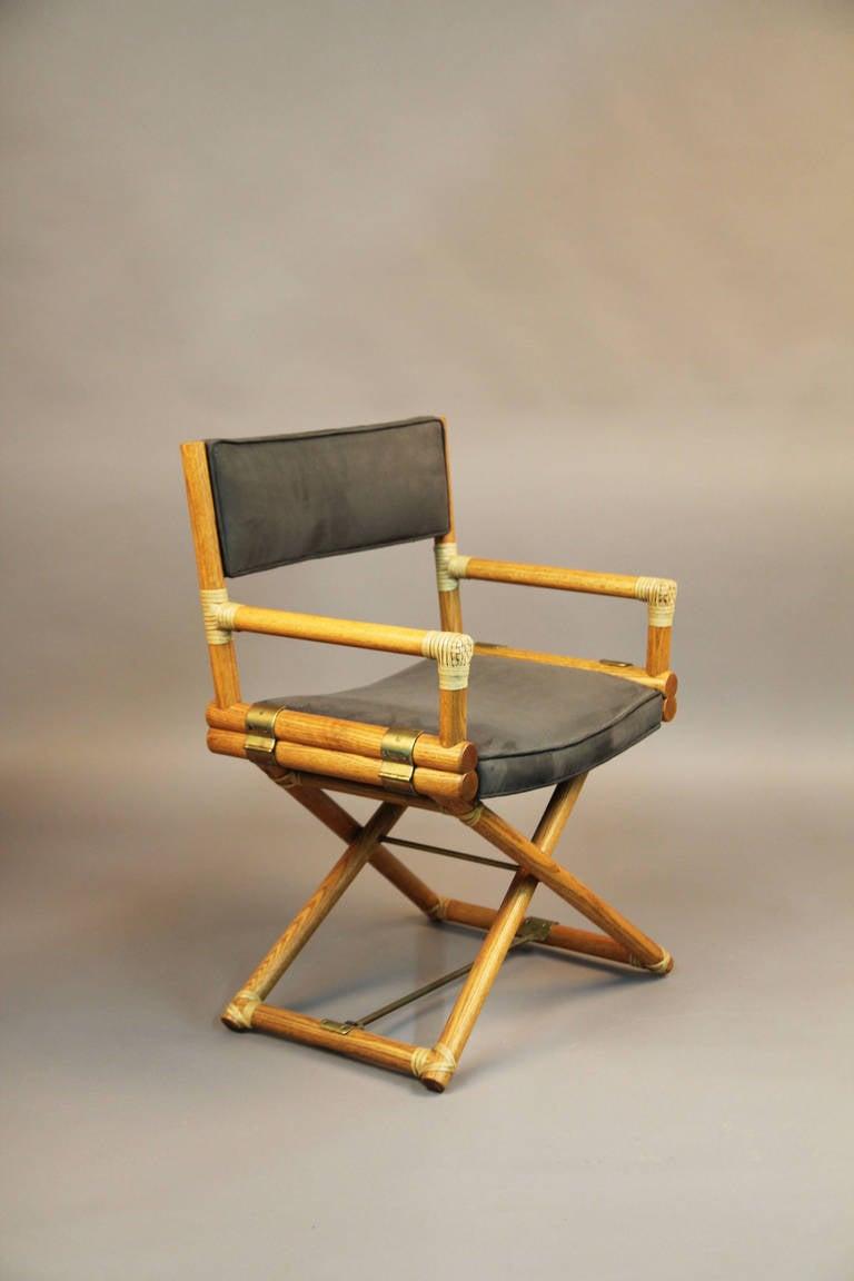 Set Of Six Mcguire Directors Chairs Oak Safari Style At