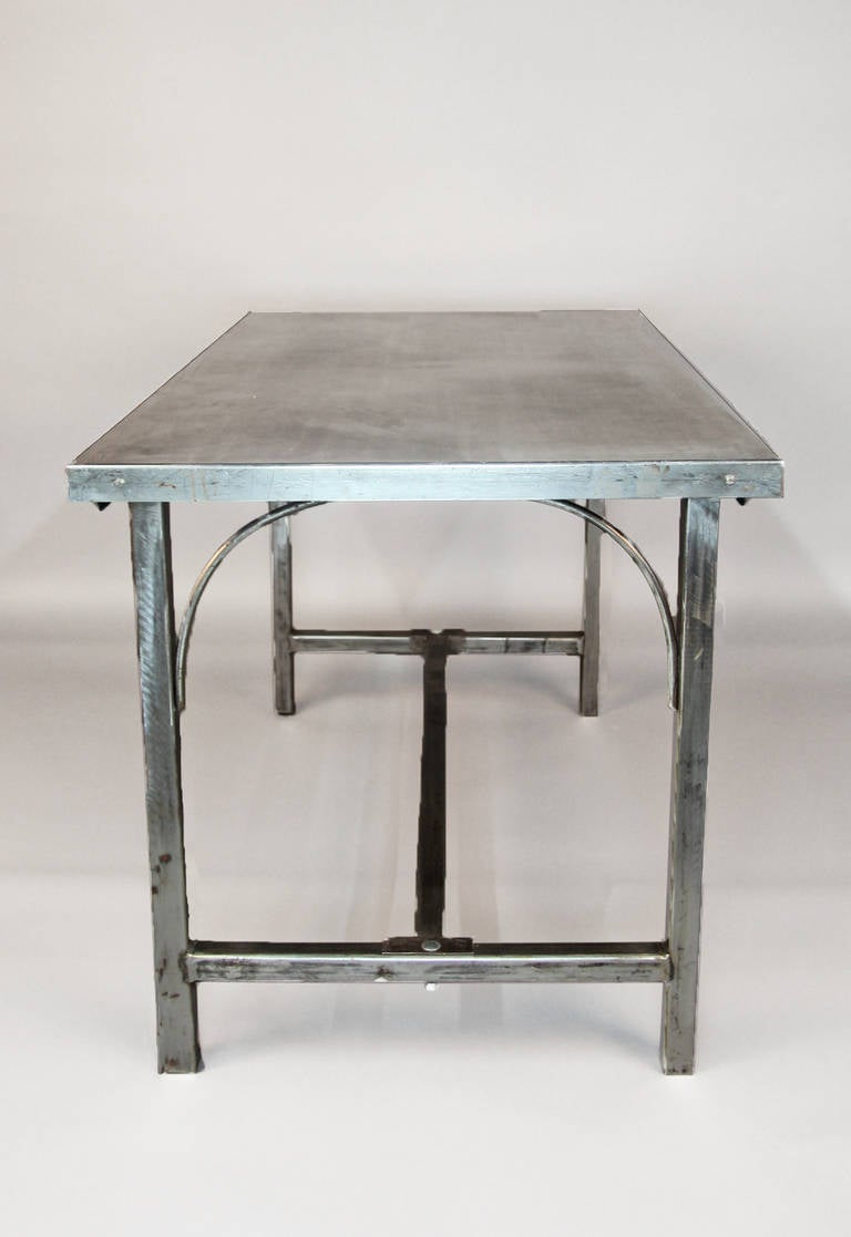 Steel Workbench Or Table With Stainless Steel Top At 1stdibs