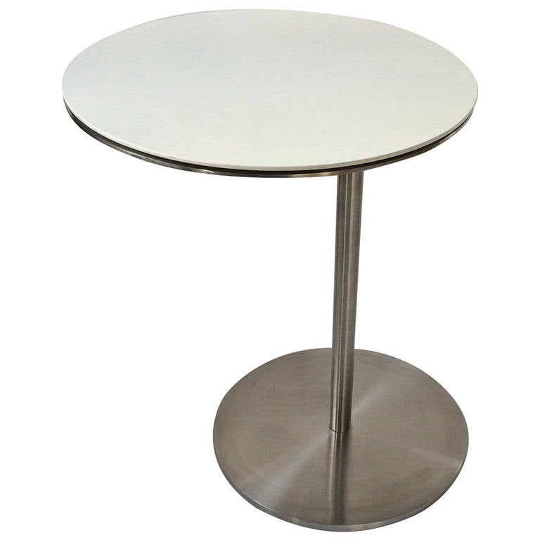 Stainless steel swivel table from the royalton hotel at