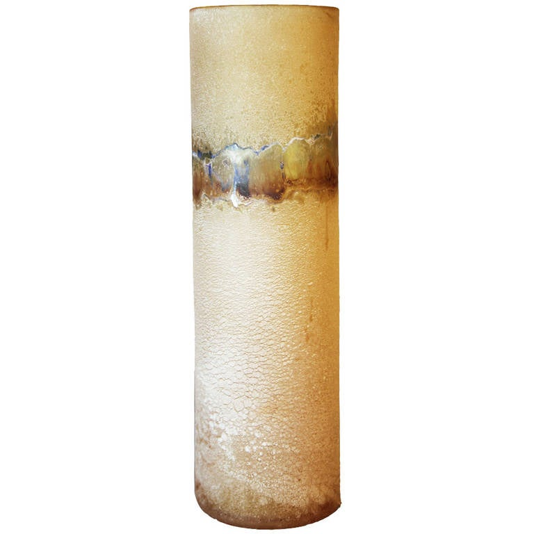 Cylindrical Scavo Murano Glass Vase by Barbini For Sale