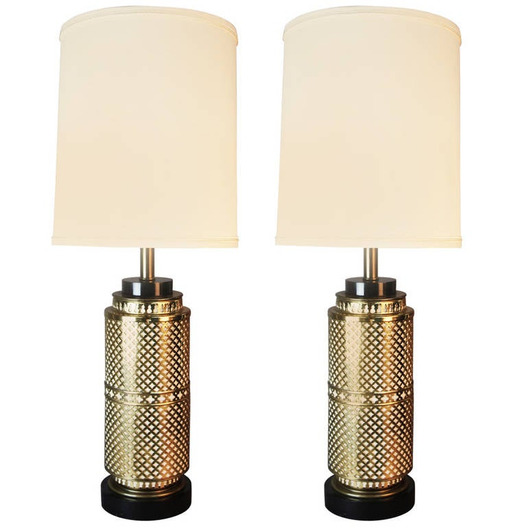 Pair Of Asian Inspired Brass Table Lamps Attributed To