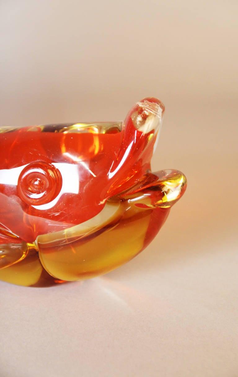 Massive murano glass fish sculpture in yellow and orange for Murano glass fish