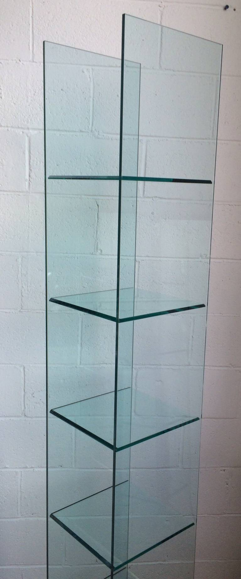 babele glass shelving unit tower  fiam at stdibs - babele glass shelving unit tower  fiam