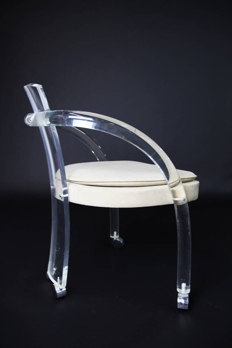 Set Of Four Charles Hollis Jones Style Lucite Chairs At
