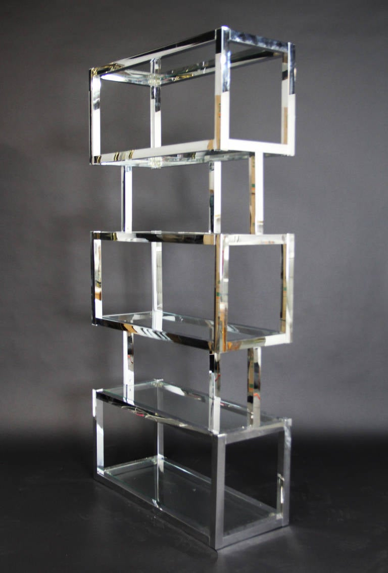 Chrome And Glass Cubic Etagere At 1stdibs