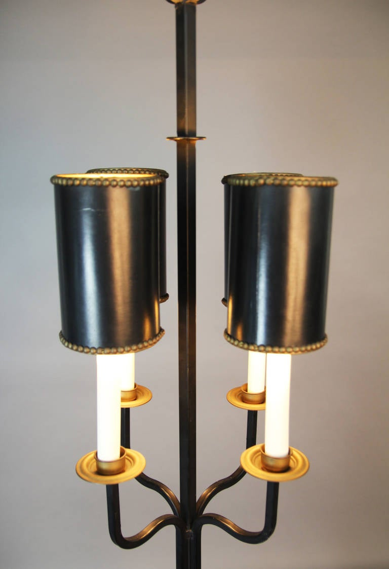 tommi parzinger wrought iron floor lamp with shades at 1stdibs. Black Bedroom Furniture Sets. Home Design Ideas