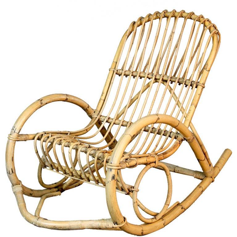 Franco Albini Style Rattan Rocking Chair At 1stdibs