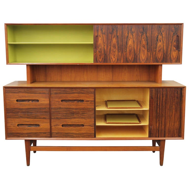 Danish Mid Century Buffet With Hutch, Trays And Tambour Door For Sale