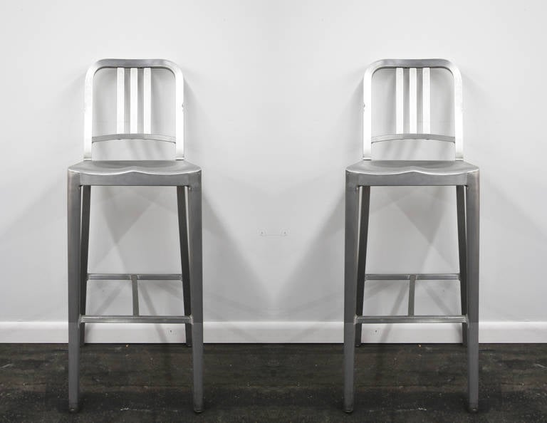 pair of emeco navy counter stools in brushed aluminum at 1stdibs