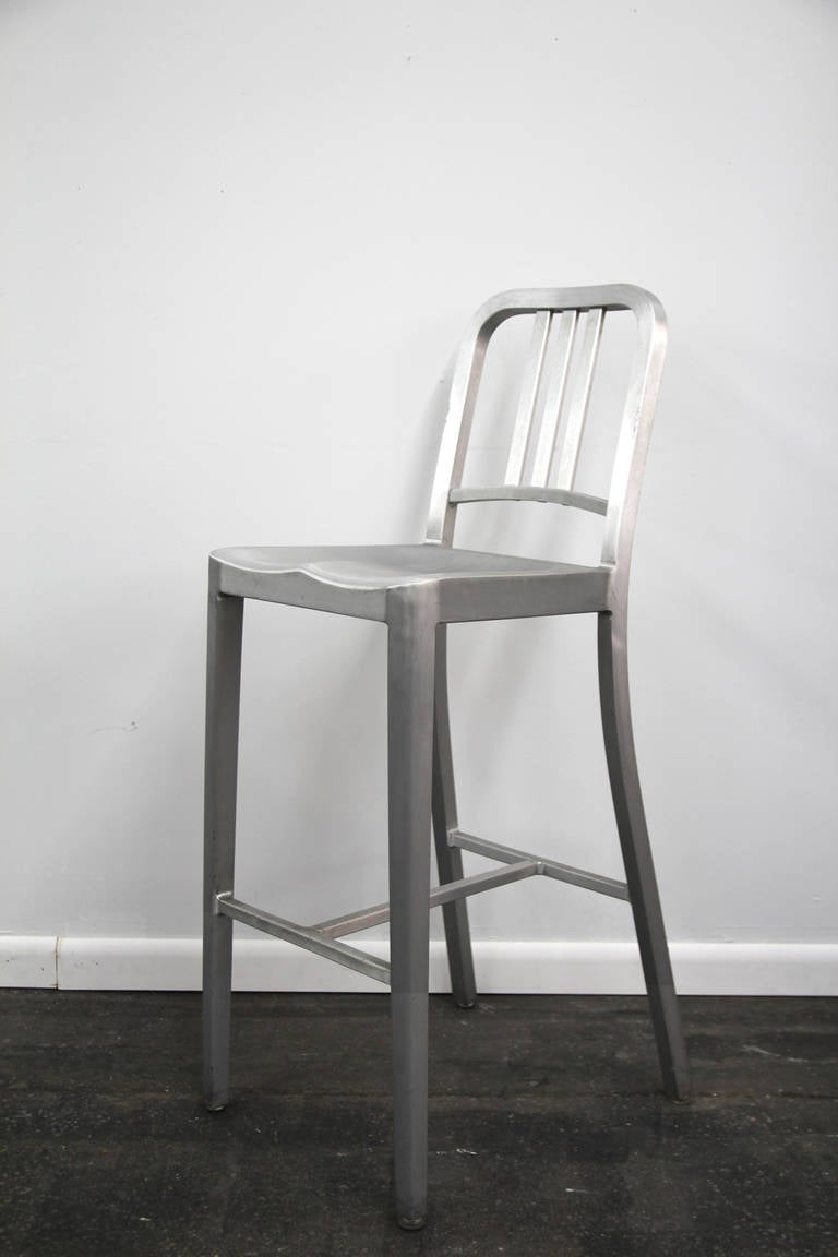 Pair Of Emeco Navy Counter Stools In Brushed Aluminum At