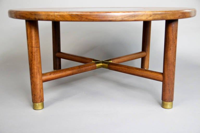 G Plan Coffee Table With Brass Accents And Smoked Glass Insert For Sale At 1stdibs