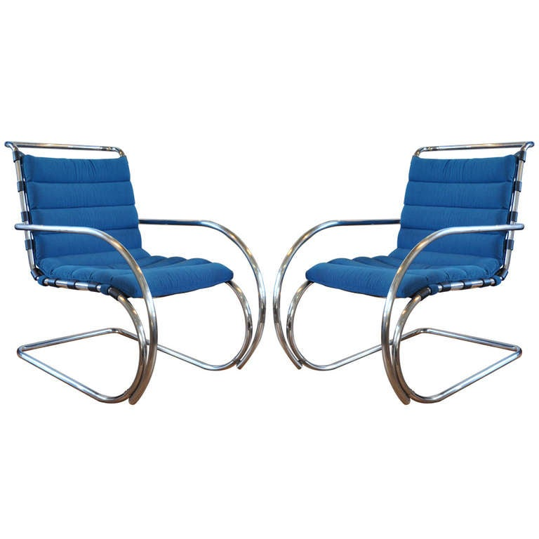 Pair Of MR Lounge Chairs Mies Van Der Rohe At 1stdibs