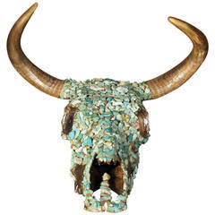 Antique Turquoise Nugget Encrusted Bull Skull