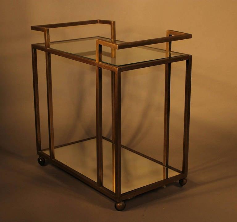 john stuart brass bar cart with mirror shelf at 1stdibs. Black Bedroom Furniture Sets. Home Design Ideas