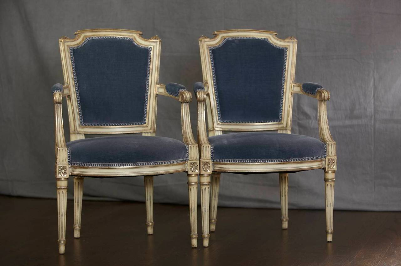 pair of antique french louis xvi style fauteuils or armchairs upholstered at 1stdibs. Black Bedroom Furniture Sets. Home Design Ideas