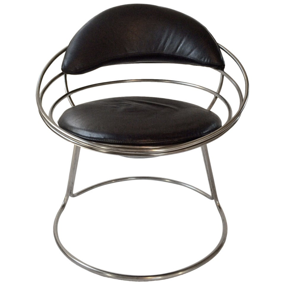 Round French Designer Chair, 1960s At 1stdibs