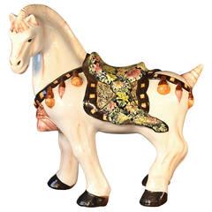 Large Mid-Century Italian Glazed Ceramic Horse Sculpture