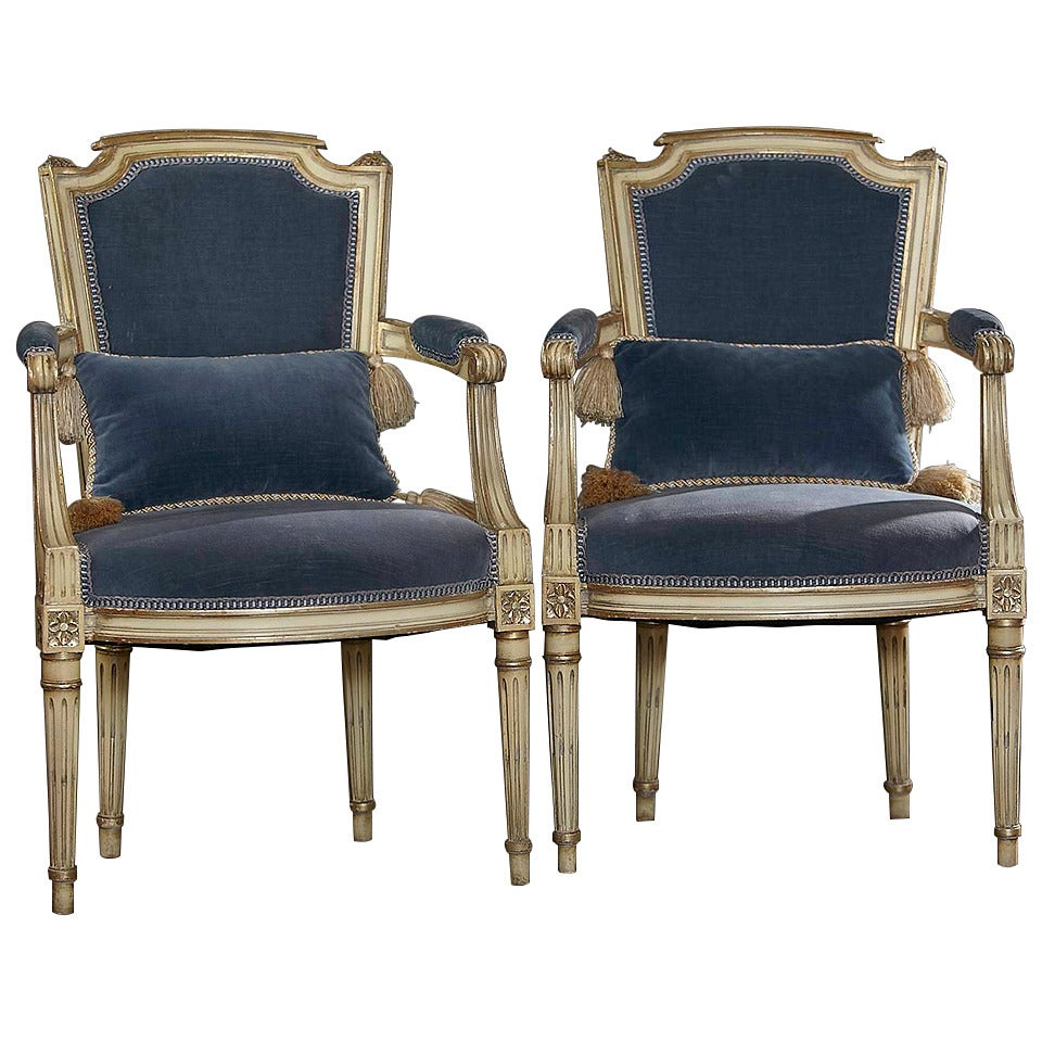 Pair of antique french louis xvi style fauteuils or - Chaise style louis xvi moderne ...