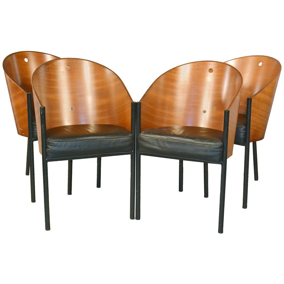 Set of four costes barrel back chairs by philippe starck for Philippe starck dining tables