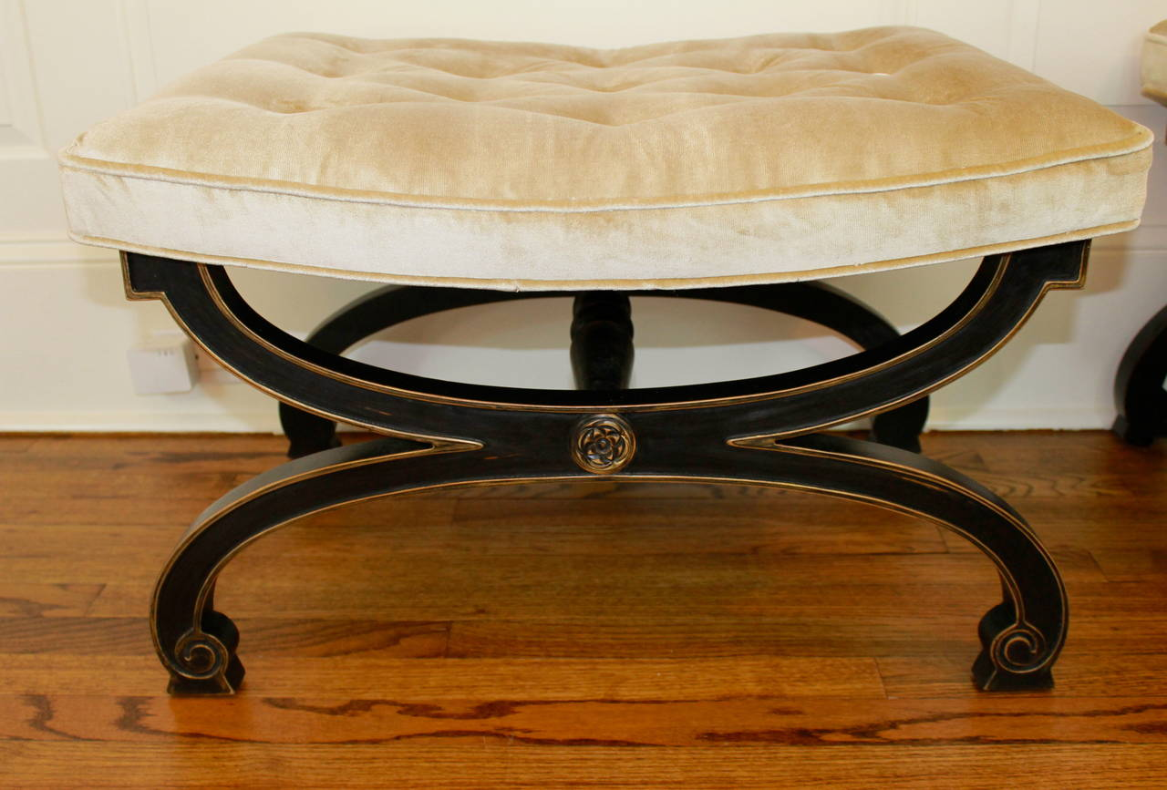 Pair Of Ebonized X Form Tabouret Benches Regency Style By Tomlinson Furniture At 1stdibs