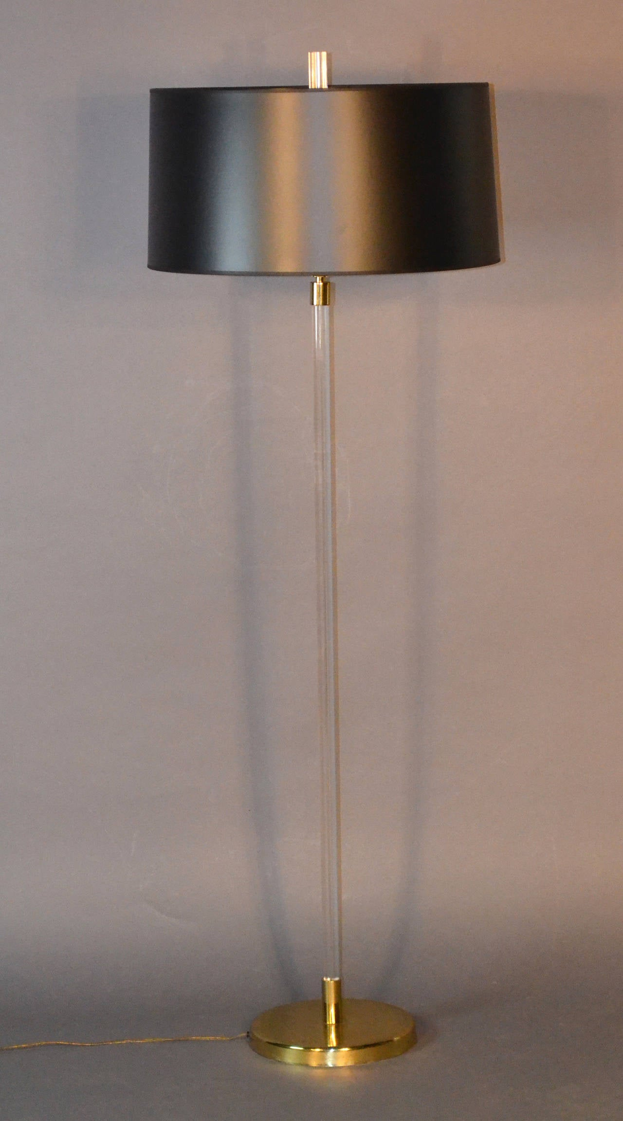 lucite floor lamp with brass base black shade with gold interior at 1stdibs. Black Bedroom Furniture Sets. Home Design Ideas