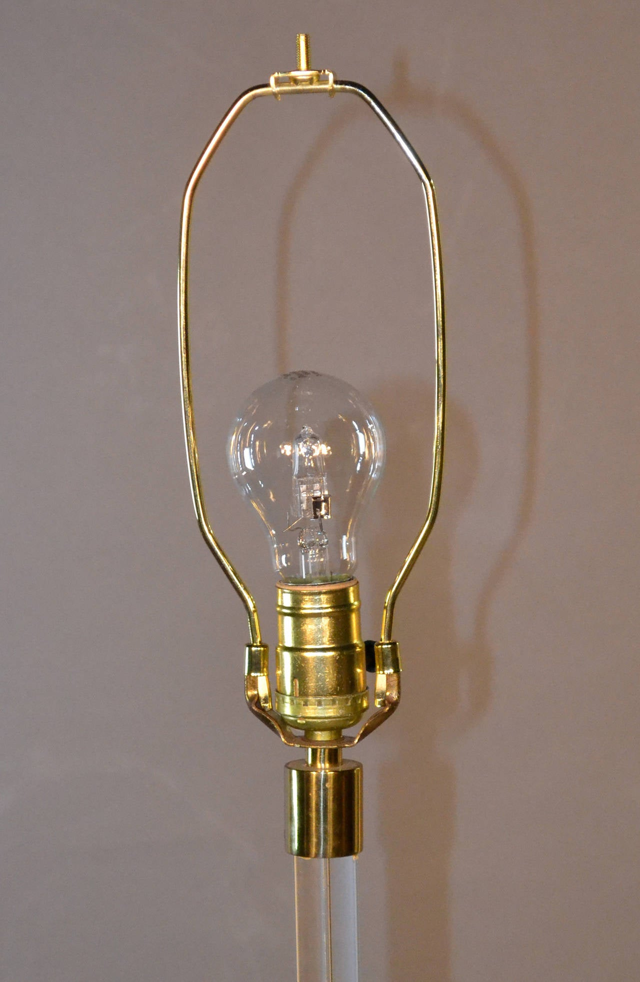 Lucite Floor Lamp With Brass Base Black Shade With Gold
